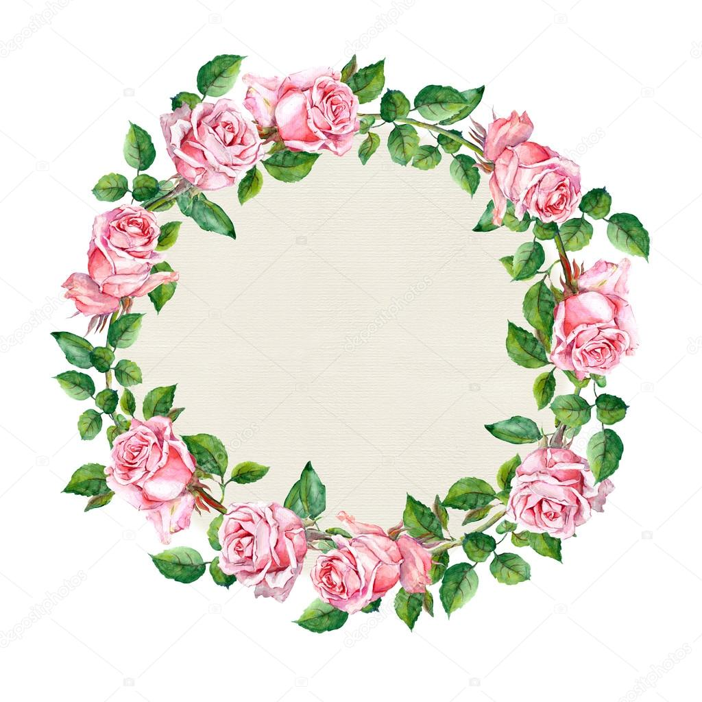 Rose Flower Wreath Floral Circle Border Watercolor Stock Photo