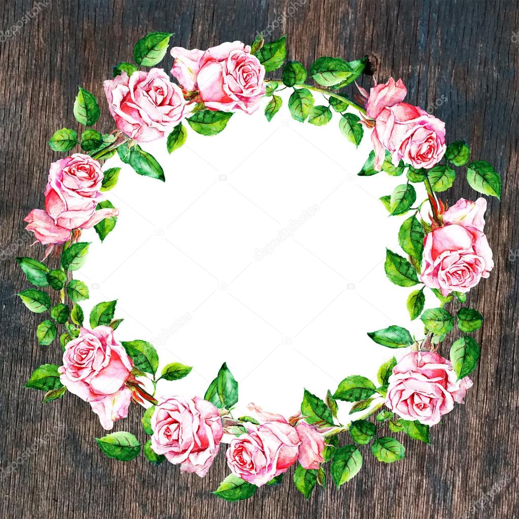 Rose Flower Wreath On Wood Background Floral Circle Border Watercolor Stock Photo