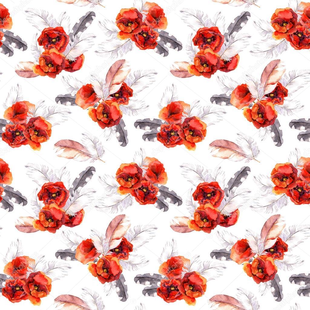Motif floral sans couture avec aquarelles fleurs et plumes - Deco printempsidees avec fleurs et motif floral ...