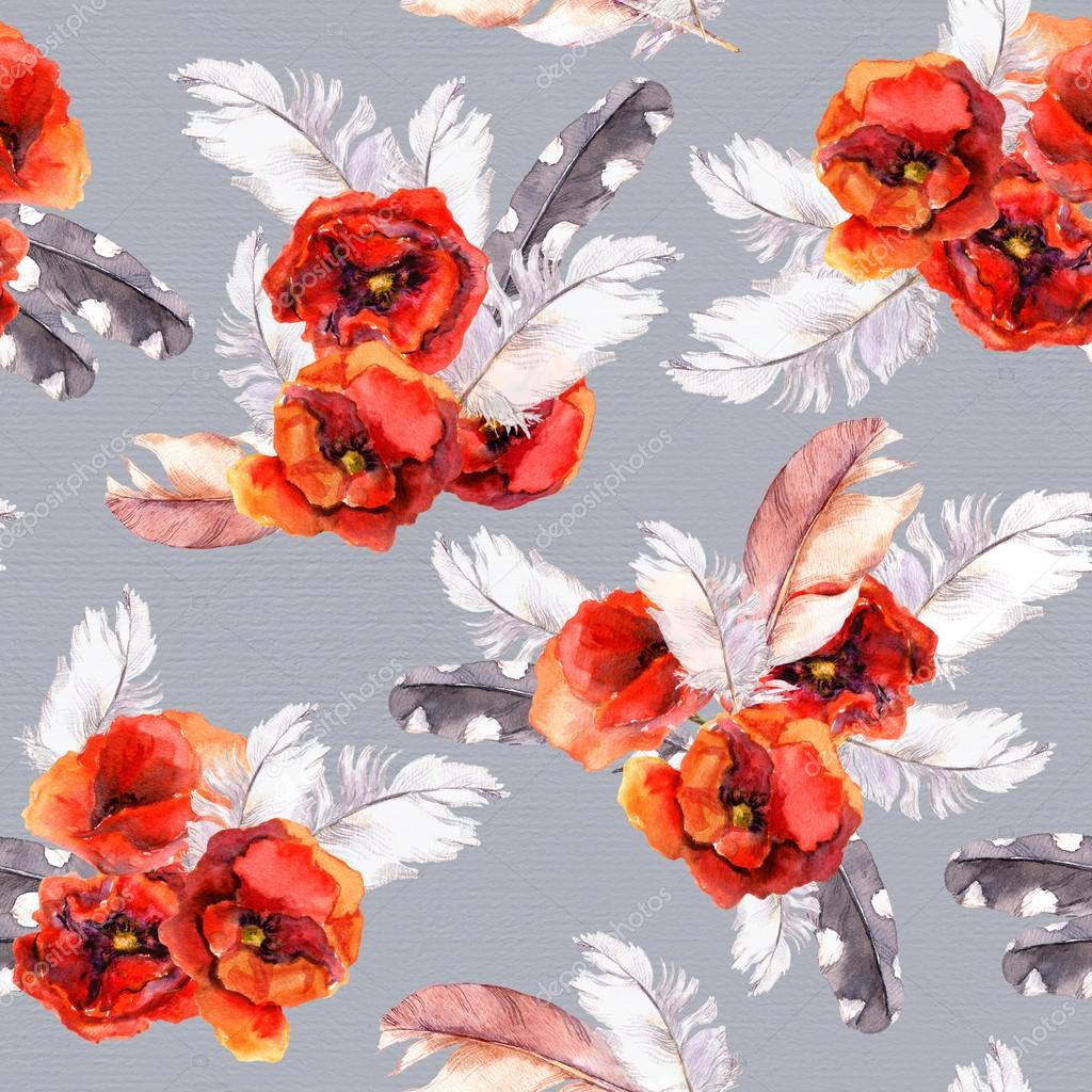Seamless floral pattern with watercolor flowers and feathers. Watercolor