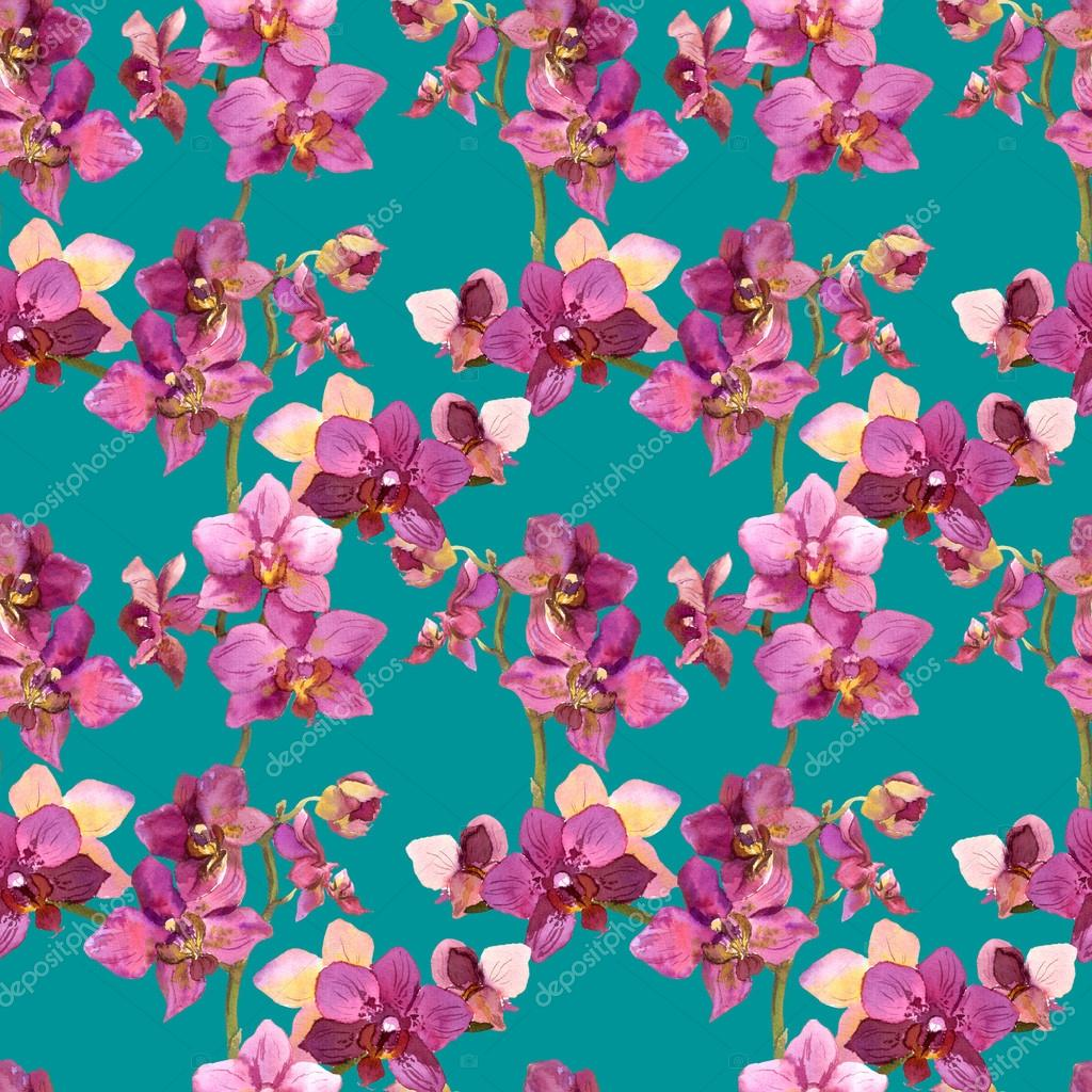 exotic watercolor painted template with repeated orchids flowers