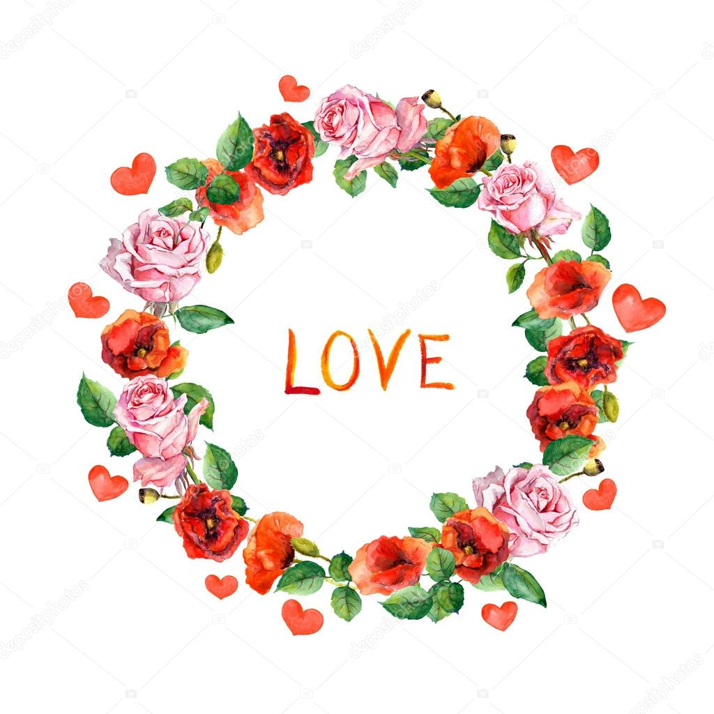 Roses, poppies flowers with hearts and word Love for Valentine day ...