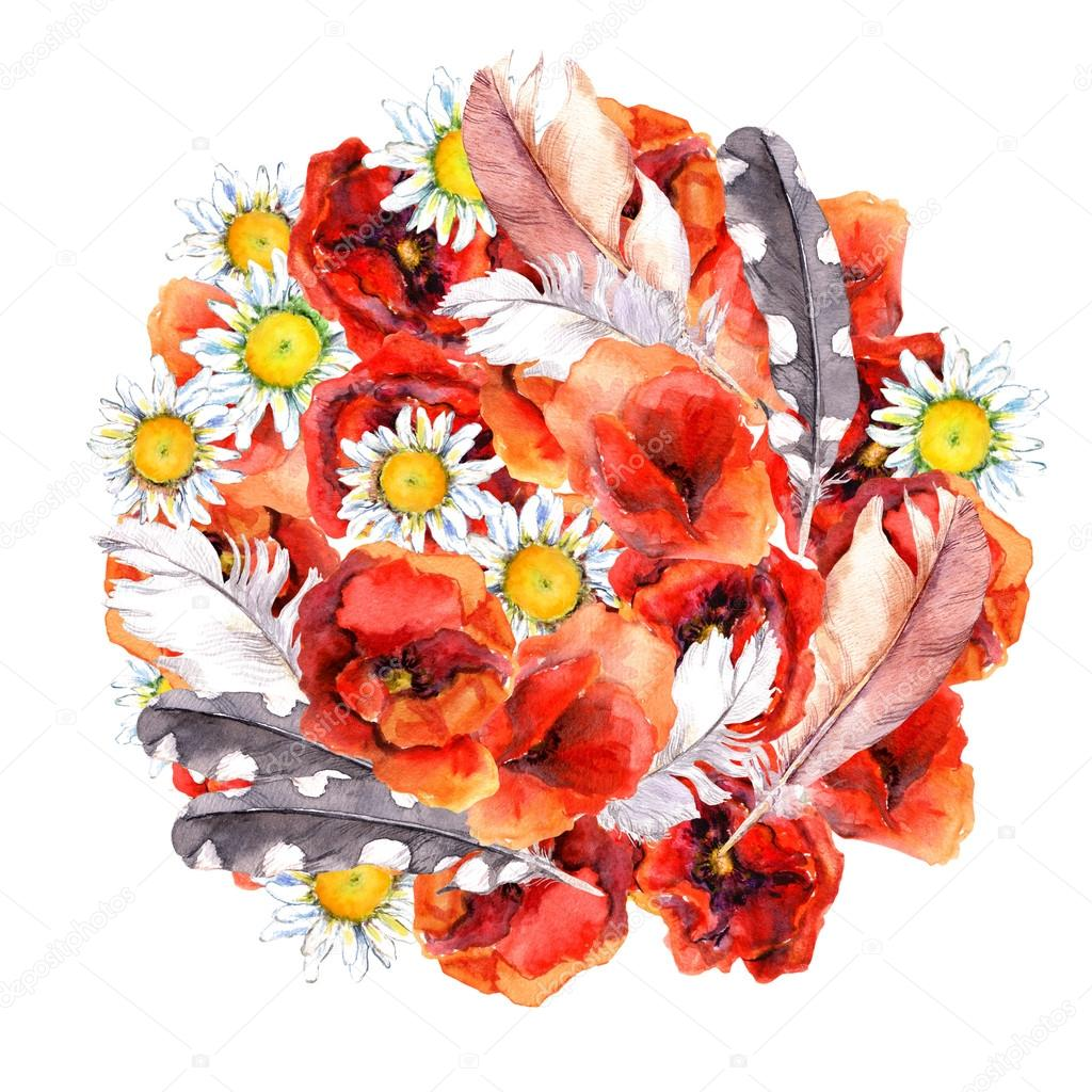 Floral circle composition with summer flowers poppies camomile and floral circle composition with summer flowers poppies camomile and feathers for pretty postcard watercolor mightylinksfo