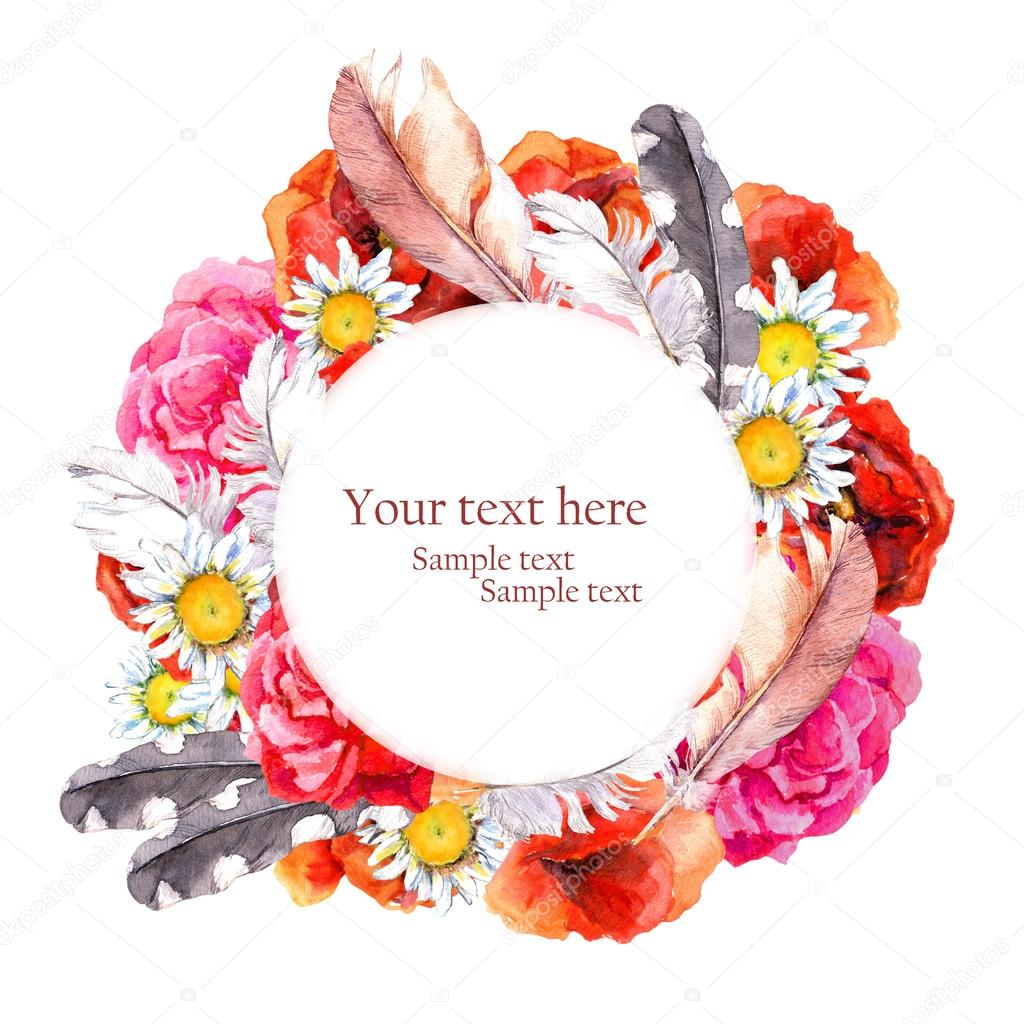 Floral pretty circle wreath with summer flowers poppies camomile floral pretty circle wreath with summer flowers poppies camomile rose and feathers for postcard mightylinksfo