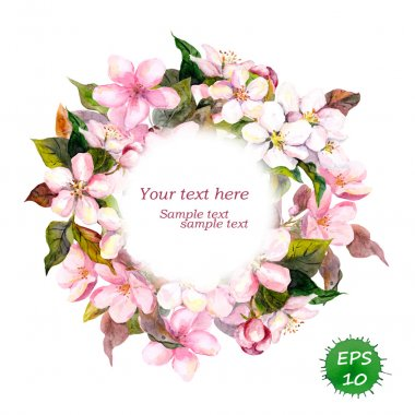 Floral round wreath with pink flowers for elegant vintage and fashion design. Watercolor vector