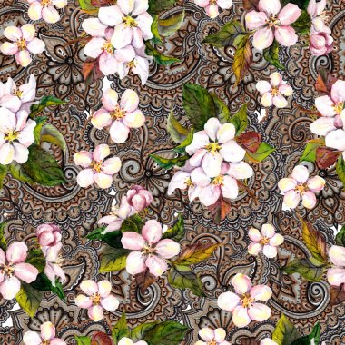 Sakura cherry, apple tree flowers on ornamental background. Floral seamless pattern.