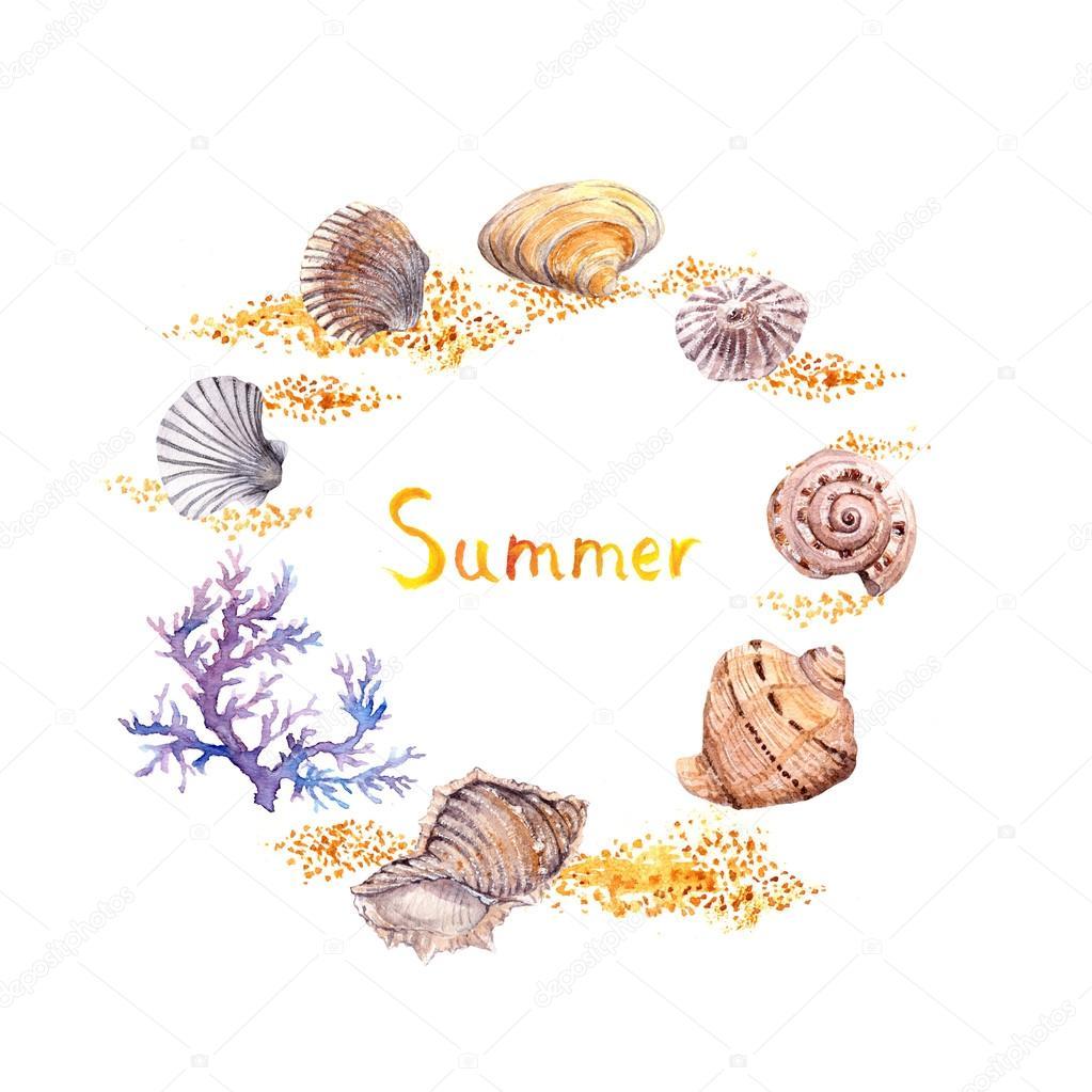 Arena de concha, coral. Vacaciones mar marco - círculo frontera ...