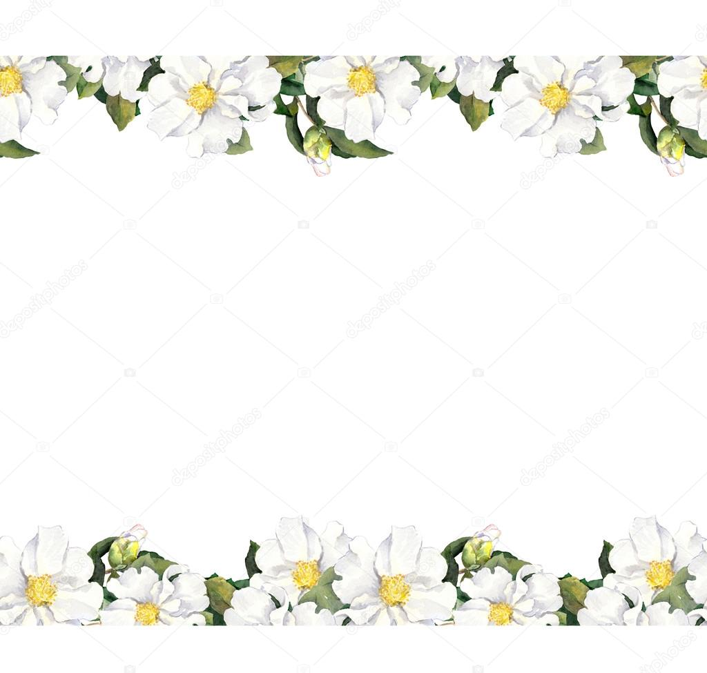 Seamless Floral Strip Frame With White Flowers Watercolour Border
