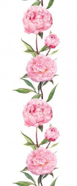 Pink peonies flowers. Seamless floral border frame. Watercolor
