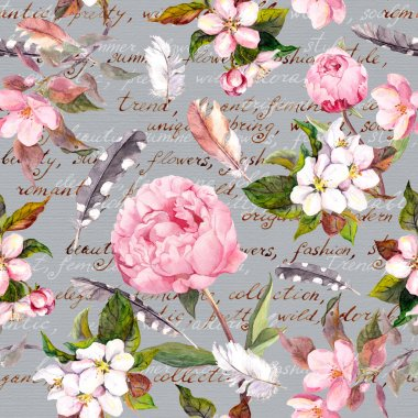 Peony flowers, sakura, feathers. Vintage seamless floral pattern with hand written letter. Watercolor