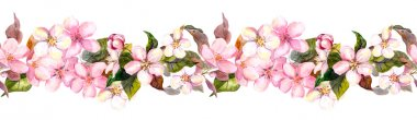 Seamless repeated floral border - pink cherry - sakura - and apple flowers. Watercolor