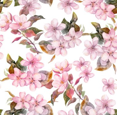 Pink fruit - apple, cherry, sakura - flowers. Seamless floral template. Aquarelle on white background