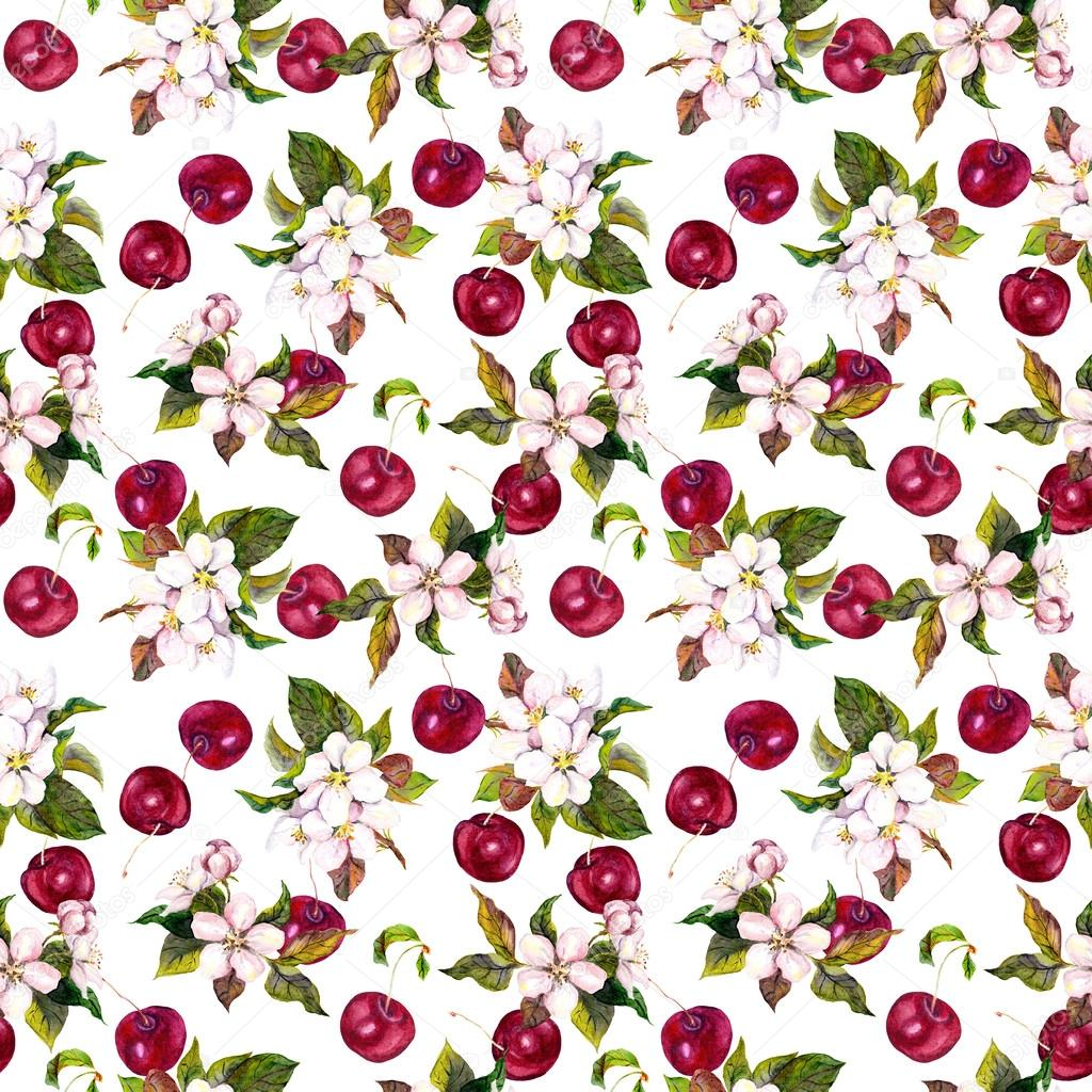 Watercolor Floral Wallpaper With Cherry Berries And Cherry Flowers