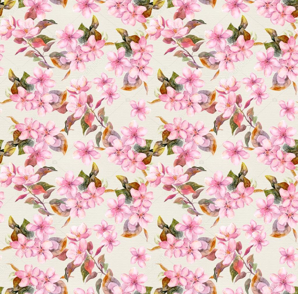 Retro Fleurs Rose De Pommes Et De Cerises En Fleur Seamless Papier