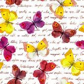 Farfalle al vintage invecchiato testo lettera scritta a mano. Ripetizione del reticolo retrò. Acquerello e inchiostro.