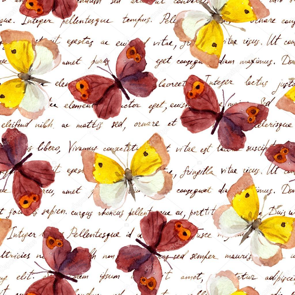 Mariposas a mano escribir texto carta. De patrones sin fisuras ...