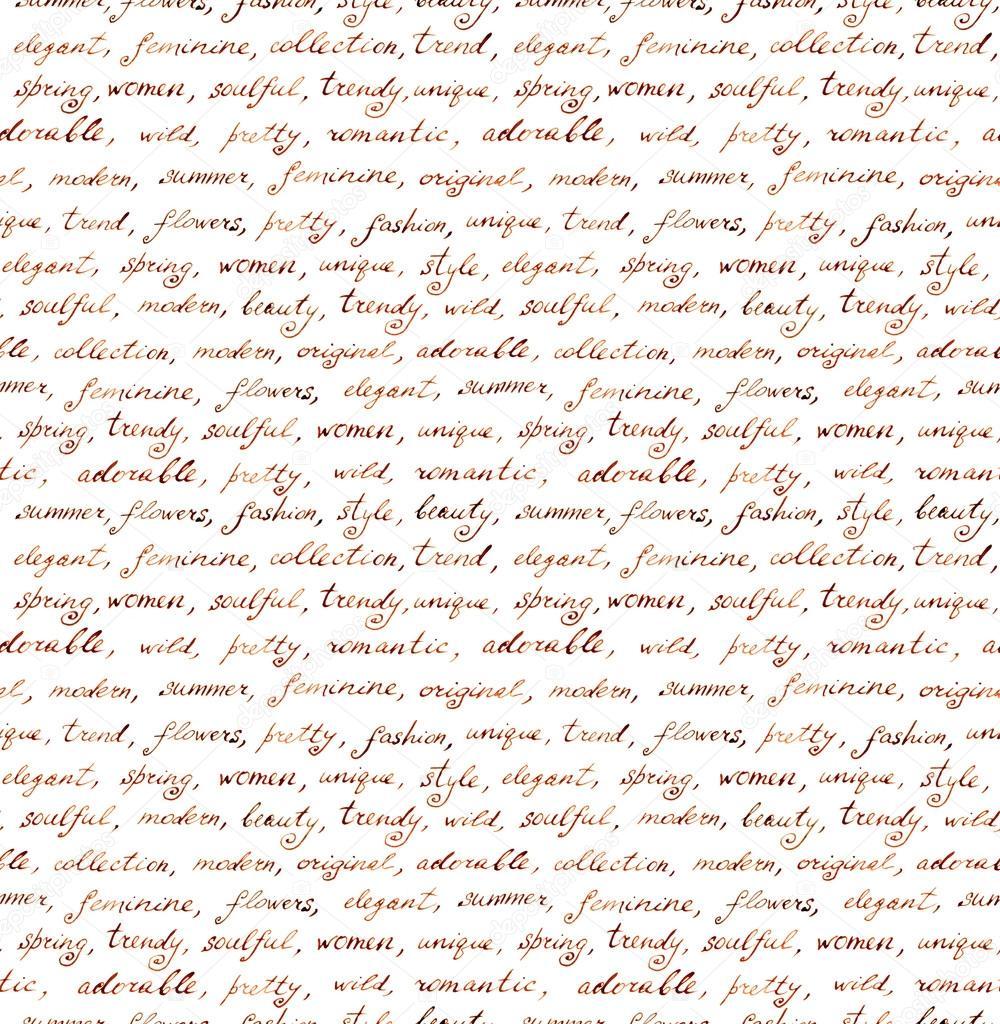 Magnifique Vintage manuscrite de lettre - texte sans couture mode et beauté &HW_12