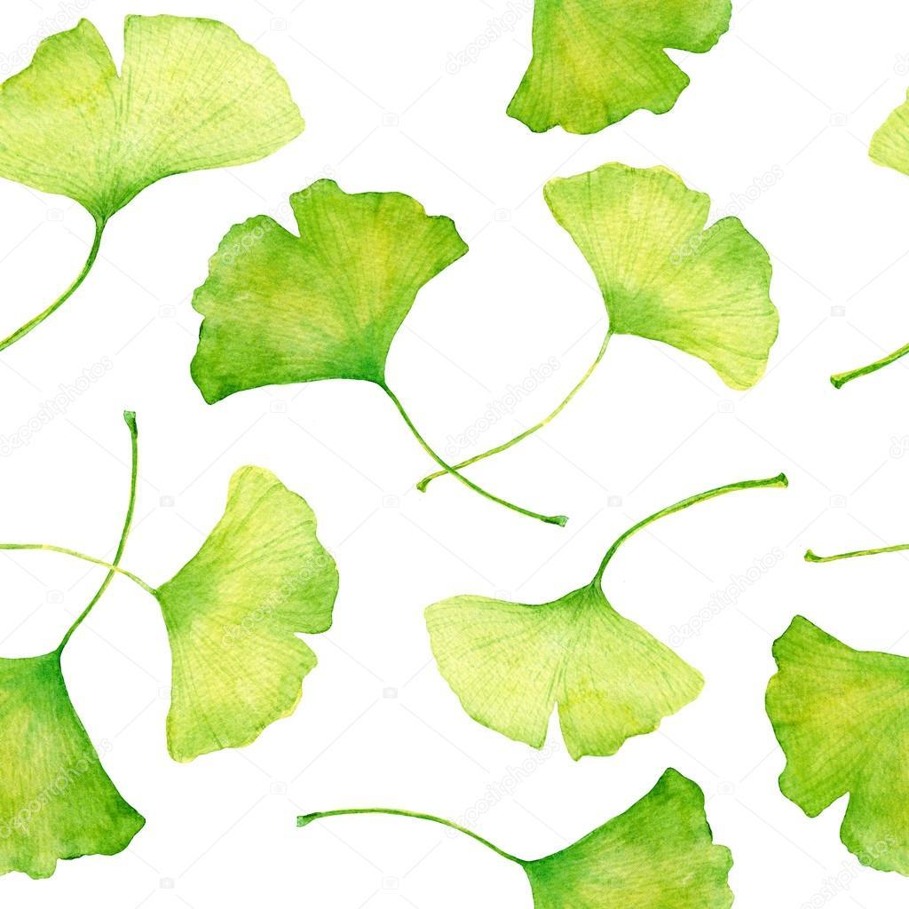 ginkgo leaves pattern watercolor stock photo zzzorikk 94265998