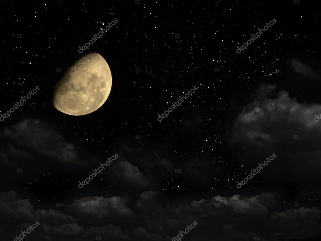 Night sky with stars, and with a moon.