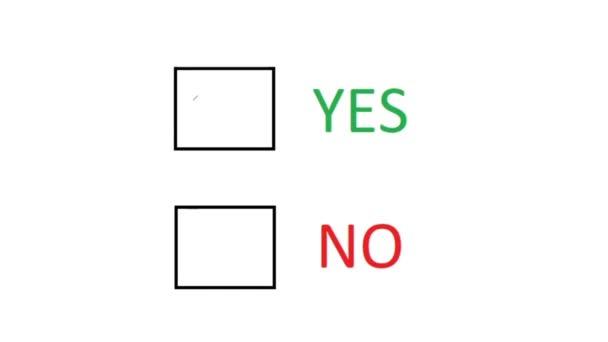 Wählen Sie Ja. Markieren Sie Leeres Feld, um Zustimmung anzuzeigen. Ja oder Nein. Handschriftliche Entscheidung auf Papier.