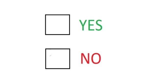Nein wählen. Markieren Sie Leeres Feld, um Negatives anzuzeigen. Ja oder Nein. Handschriftliche Entscheidung auf Papier.