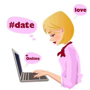 Girl typing on laptop