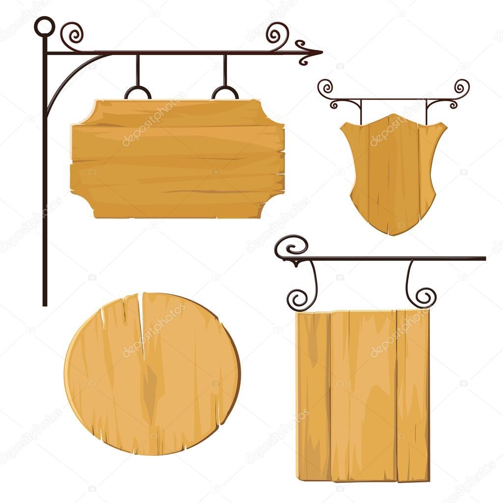 hanging wooden signs � stock vector 169 anastasian 58284817