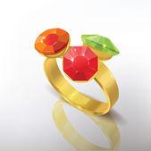 Zlatý prsten s kameny jem.
