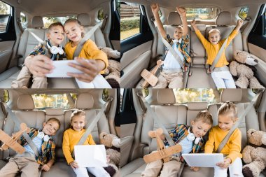 Collage of cheerful kids using devices near toys on back seat of car stock vector