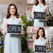 collage of happy young florist holding board with open lettering in flower shop near plants on blurred background