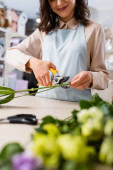 cropped view of smiling florist cutting steam near flowers of blurred foreground
