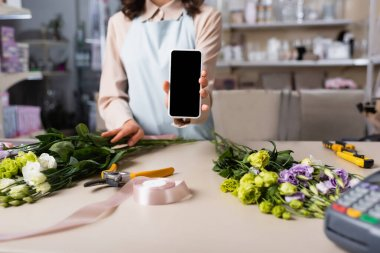 Cropped view of florist showing smartphone with blank screen with eustoma flowers on desk on blurred background stock vector
