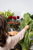 Back view of female florist taking green plant from vase on rack of flowers on blurred foreground