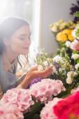 Happy květinářství se zavřenýma očima vonící eustom květiny v blízkosti hortenzie s rozmazaným oknem na pozadí