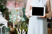 Cropped view of female florist holding digital tablet with blurred flower shop on background