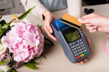 Cropped view of customer paying with credit card by terminal in hands of florist near blooming hydrangea on desk stock vector