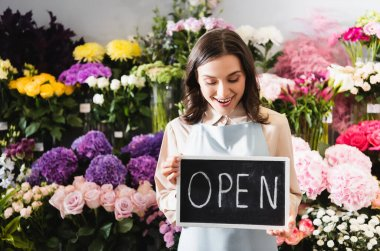 Excited florist looking at chalkboard with open lettering near range of flowers on background stock vector