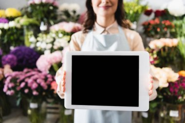 Cropped view of female florist showing digital tablet with blank screen with blurred range of flowers on background stock vector