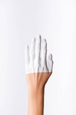 Cropped view of hand with painted fingers isolated on white stock vector