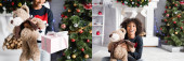 collage of cheerful african american girl holding teddy bear and gift box, while sitting on floor near fireplace and christmas tree on blurred background, banner