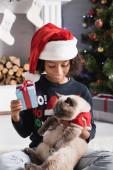 radostné africké americká dívka drží nadýchané kočky a dárkové krabice v blízkosti vánoční dekorace na rozmazaném pozadí