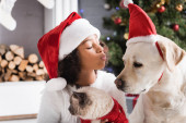 Photo african american girl in santa hat sending air kiss to labrador while holding fluffy cat on blurred background