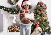 glücklich afrikanisch-amerikanische Mädchen mit pelziger Katze in der Nähe Labrador Hund, dekorierten Kamin und Weihnachtsbaum auf verschwommenem Hintergrund
