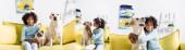 Koláž usmívající se africké americké dívky sedící poblíž psa a kočky, objímající a líbající labrador doma, prapor