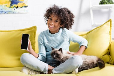 African american girl holding cellphone with blank screen, while stroking cat, sitting on sofa on blurred background stock vector