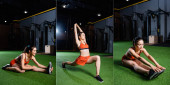 Fotografie collage of sportswoman doing forward lunges and seated bend exercises while training in gym, banner