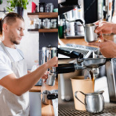 collage of young barista preparing coffee, holding milk mug near steamer, and paper cup near coffee machine dispenser