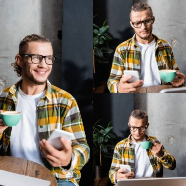 Collage of young, emotional freelancer messaging on mobile phone while holding cup of coffee in cafe, blurred foreground stock vector