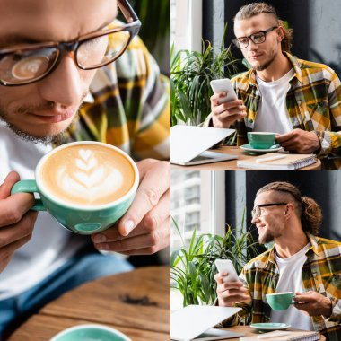 Collage of young freelancer holding cup of coffee with latte art, smiling and chatting on smartphone near laptop stock vector