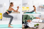 Collage of woman practicing yoga and working with laptop and papers at home